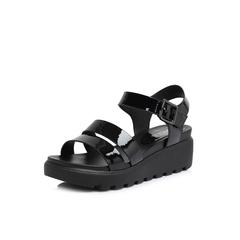 Belle/百麗專柜同款黑色人造革女涼鞋S4L1DBL8