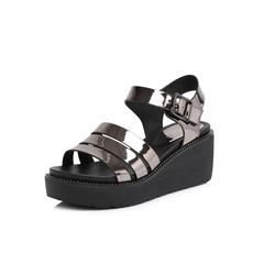 Belle/百丽2018夏新专柜同款灰色人造革女凉鞋S4J1DBL8