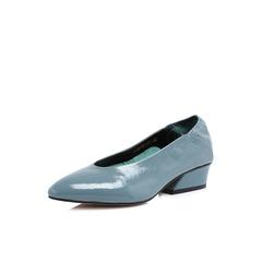 Belle/百丽2018春新品专柜同款蓝色皱牛漆皮女单鞋S5C1DAQ8