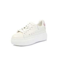 Belle/百丽2018春新品专柜同款白/粉牛皮女休闲鞋S5L1DAM8