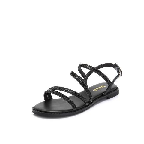 Belle/百丽专柜同款黑色闪光布/牛皮革女凉鞋S5W1DBL8