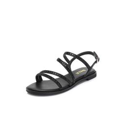 Belle/百丽2018夏新专柜同款黑色闪光布/牛皮革女凉鞋S5W1DBL8