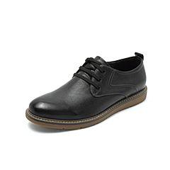 Belle/百丽2018秋专柜同款黑色打蜡牛皮革系带男皮鞋B3H10CM8
