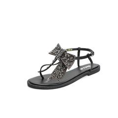 Belle/百丽2018夏专柜新款黑色羊皮革女皮凉鞋01668BL8