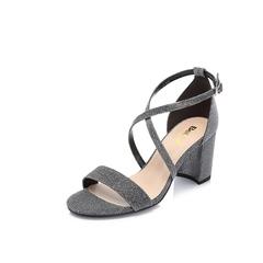 Belle/百麗專柜同款黑銀亮線布女涼鞋BPFE6BL8