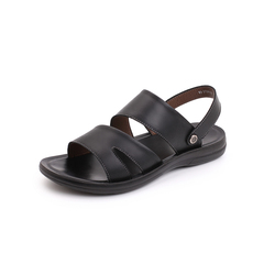 Belle/百丽2018夏季专柜新款黑色牛皮革休闲男沙滩凉鞋5TD01BL8