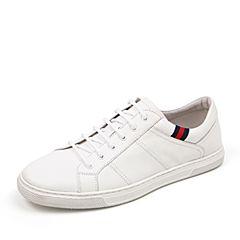Belle/百丽2018夏季专柜白色牛皮革小白鞋男休闲鞋5TC01BM8