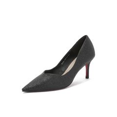 Belle/百丽2018秋专柜新款亮片布OL通勤细高跟女单鞋BVA02CQ8
