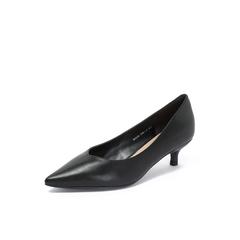 Belle/百丽猫跟鞋2018秋季专柜新款?#25512;?#23567;牛皮革优雅尖头女单鞋BAL05CQ8