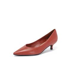 Belle/百丽猫跟鞋2018秋专柜新款摔纹胎牛皮革优雅尖头OL通勤女单鞋BAL05CQ8