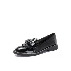 Belle/百丽专柜同款皱漆牛皮革英伦流苏乐福鞋女单鞋BRO21CM8