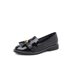 Belle/百丽2018秋季专柜新款皱漆牛皮革英伦流苏乐福鞋女单鞋BRO20CM8