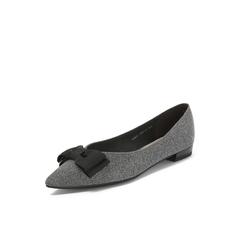 Belle/百丽2018秋专柜新款亮线布低跟蝴蝶结女单鞋BSW07CQ8