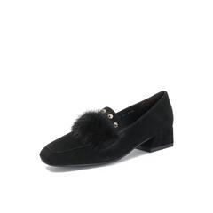 Belle/百丽2018秋专柜新款黑色羊绒皮革/貂毛皮女皮鞋BUN27CM8