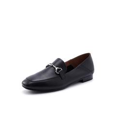 Belle/百丽2018秋专柜新款黑色摔纹小牛皮革乐福鞋女单鞋BLNJ1CM8