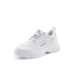 Belle/百丽老爹鞋2018秋季新款白纺织品牛皮厚底男休闲鞋B9803CM8