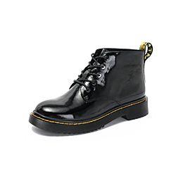 Belle/百丽2018秋专柜新款皱漆牛皮革女皮靴复古马丁靴S7K1DCD8