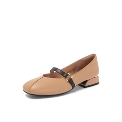 Belle/百丽专柜同款杏色牛皮革复古女单鞋奶奶鞋S7J2DCQ8