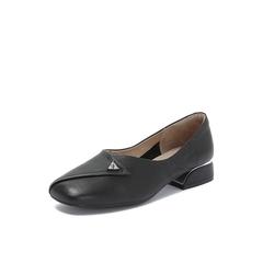 Belle/百丽2018秋专柜新款牛皮革复古方头奶奶鞋女单鞋S7J1DCQ8