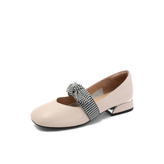 Belle/百丽专柜同款牛皮革蝴蝶结奶奶鞋女单鞋S7J3DCQ8