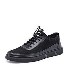 Belle/百丽2018秋新款黑色牛皮革松紧带板鞋男休闲鞋58343CM8