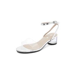 Belle/百丽专柜同款银/白胶片/贴膜牛皮革水晶跟女凉鞋BSK31BL8