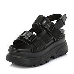 Belle/百丽2018夏季专柜牛皮革/织带厚底女皮凉鞋S7Z1DBL8