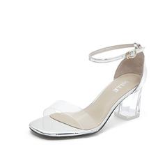 Belle/百丽专柜同款人造革/胶片水晶跟一字带女凉鞋S7U1DBL8