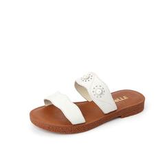 Belle/百麗專柜同款白色荔紋牛皮革平底沙灘鞋女拖鞋S5X2DBT8
