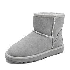 Belle/百丽2018冬季专柜新款牛剖层革休闲雪地靴女短靴(毛里)S8G1DDD8