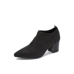 Belle/百丽2018秋专柜新款黑色闪光弹力布粗高跟尖头女单鞋BYN25CM8