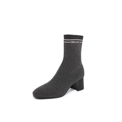 Belle/百丽2018冬专柜新款银灰金属丝飞织帮布加白色字母帮面袜靴女中靴BVH60DZ8