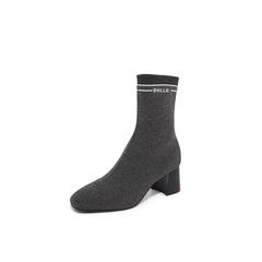Belle/百丽瘦瘦靴2018冬专柜新款银灰金属丝飞织帮布加白色字母帮面袜靴女中靴BVH60DZ8