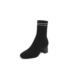 Belle/百丽2018冬专柜新款黑色飞织帮布加银丝字母帮面袜靴女中靴BVH60DZ8