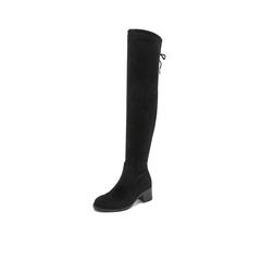 Belle/百丽瘦瘦靴2018冬季专柜新款弹力绒布女过膝靴BWM82DC8
