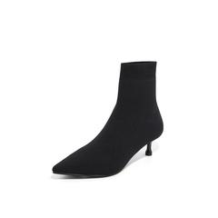 Belle/百丽2018冬专柜新款黑色飞织帮面小猫跟袜靴女中靴 BA460DZ8