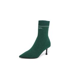 Belle/百丽2018冬专柜新款绿色金属丝飞织帮面尖头袜靴女中靴BA862DZ8