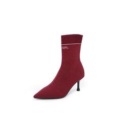 Belle/百丽2018冬专柜新款酒红金属丝飞织帮面尖头袜靴女中靴BA862DZ8