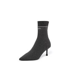 Belle/百丽2018冬专柜新款银灰金属丝飞织帮面细跟袜鞋女中靴BA862DZ8