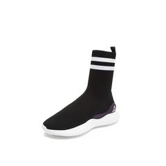 Belle/百丽瘦瘦靴2018冬季专柜新款黑色针织帮面休闲袜靴女中靴BC160DZ8