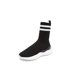 Belle/百丽2018冬季专柜新款黑色针织帮面休闲袜靴女中靴BC160DZ8