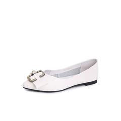 Belle/百丽2018秋专柜新款米白皮带扣装饰牛皮革女单鞋S8N1DCQ8