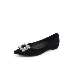 Belle/百丽2018秋专柜新款方形钻饰黑色羊绒皮革尖头女单鞋S8V1DCQ8