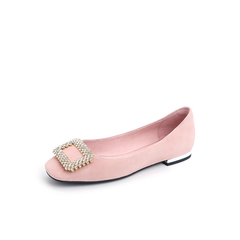 Belle/百丽2018秋专柜新款浅粉方形钻饰羊绒皮革浅口女单鞋S8U1DCQ8