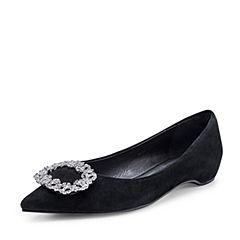 Belle/百丽2018秋新款黑色圆形闪钻羊绒皮革尖头女单鞋89202CQ8