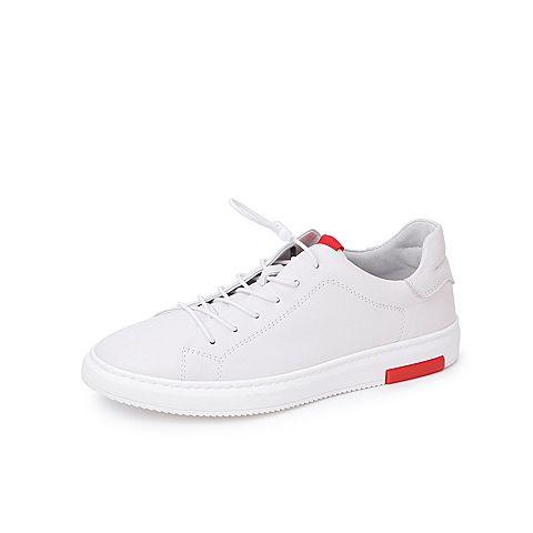 Belle/百麗商場同款白色牛皮革松緊帶小白鞋男休閑鞋5VC01CM8