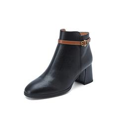 Belle/百丽2018冬专柜新款荔纹小牛皮革粗跟女及踝靴BVH44DD8