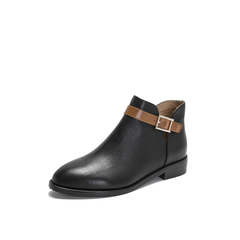 Belle/百丽2018冬季专柜新款荔纹小牛皮革撞色皮带装饰女及踝靴BPB59DD8
