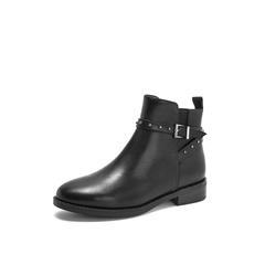Belle/百丽2018冬季专柜新款黑色油皮牛皮革女皮短靴BD746DD8
