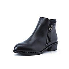 Belle/百丽2018冬季专柜新款油皮牛皮革侧拉链女及踝靴BD644DD8